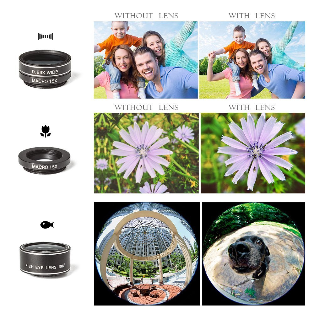 Universal 6 in 1 Clip On Camera Lens Kit | Cell Phone Bundle iPhone, Samsung, most smartphones | 12x Telescope Zoom + Fisheye + Wide Angle + Macro + Tripod + Microfiber Cloth + Phone Holder by DANDI by DANDI Innovations (Image #8)