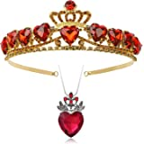 Botrinal Evie Royal Red Heart Necklace and Tiara Descendants Red Heart Crown Jewelry Set Queen of Hearts Eive Costume…