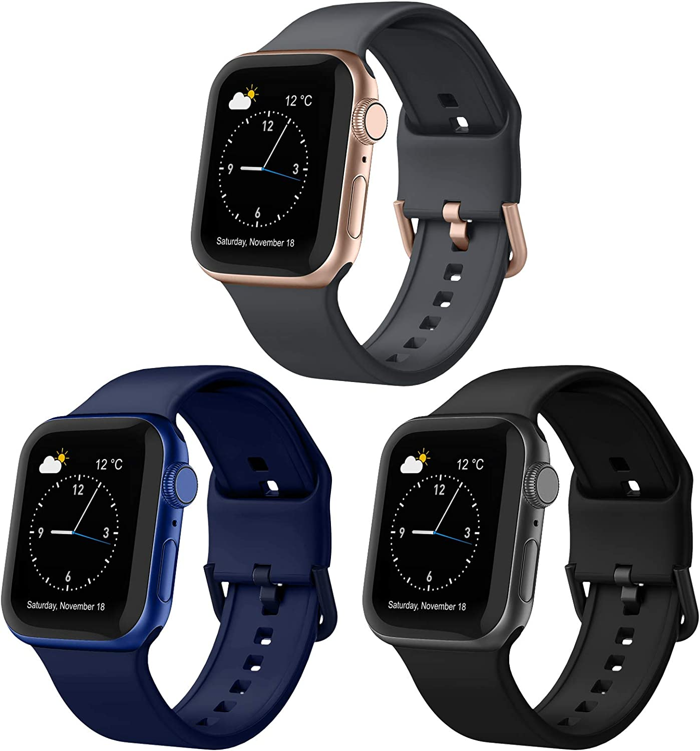Adepoy 3 Pack Compatible with Apple Watch Bands 40mm 38mm, Soft Silicone Sport Wristbands Replacement Strap with Classic Clasp for iWatch Series SE 6 5 4 3 2 1 for Women Men, 38mm/40mm