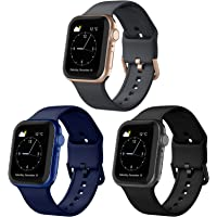Adepoy Compatible with Apple Watch Bands 44mm 42mm 40mm 38mm, Soft Silicone Sport Wristbands Replacement Strap with…