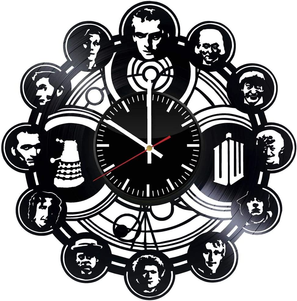 GoodIdea Art Doctor Who Vinyl Record Wall Clock, Doctor Who Handmade for Kitchen, Doctor Who Unique Wall Poster