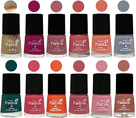 Buy Fabia Matte Nail Polish Combo Of 12 Shades Golden Raspberry Lip