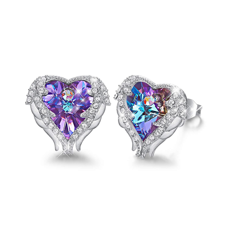 CDE Earrings for Women Swarovski Crystal Studs Silver Angel Wing Purple Heart Jewelry for Girls