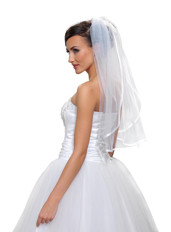"0 Tier Wedding Prom Bridal Elbow Veil With Comb 28"" - Satin Ribbon Edge"