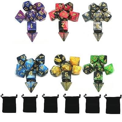 42 Dés Jeux De Role Donjons et Dragons D&D Dice, Double-couleur Polyédrique Jeu de Dés, avec 6 petits Sacs à Dés Velours Gratuit