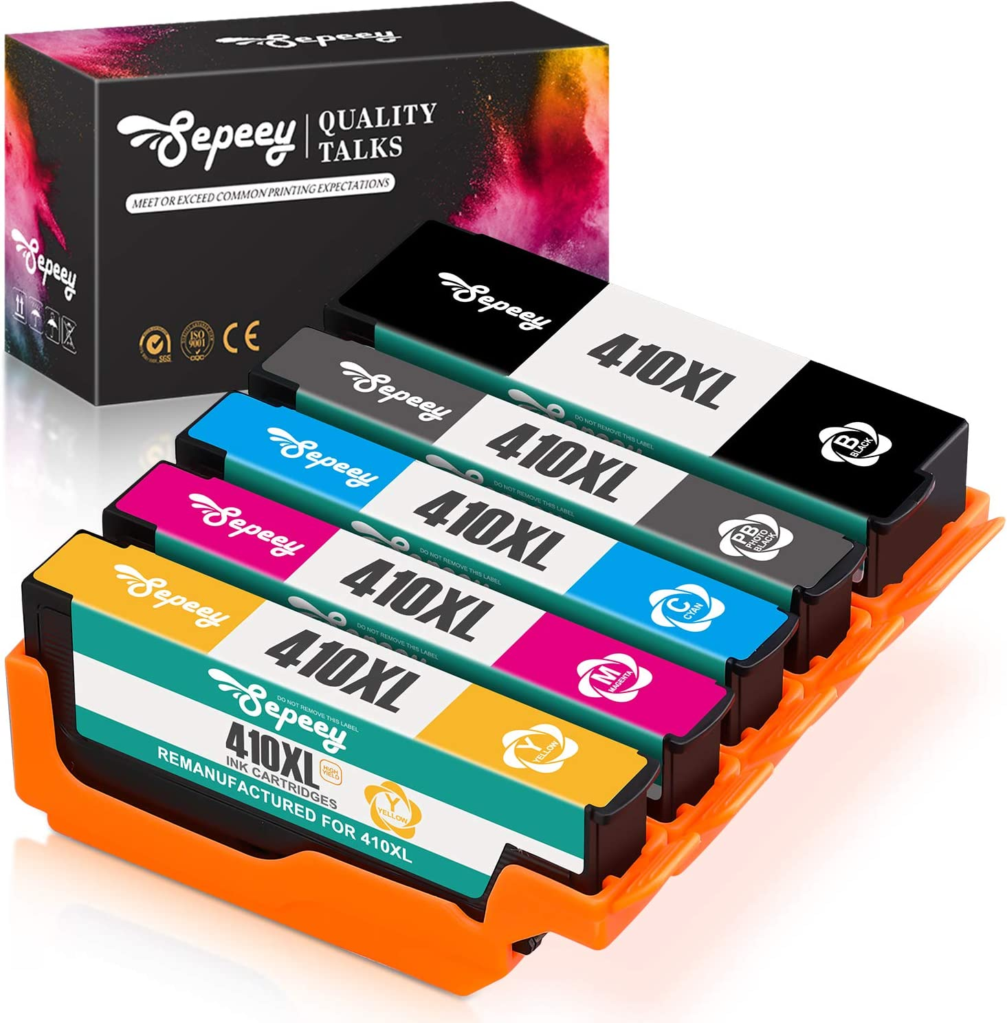 Sepeey Remanufactured Ink Cartridge Replacement for Epson 410XL 410 XL T410XL to use with Expression XP-7100 XP-530 XP-630 XP-635 XP-640 XP-830 (Black, Cyan, Magenta, Yellow, Photo Black) 5 Packs