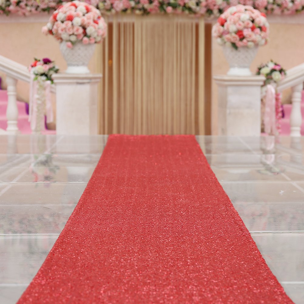 TRLYC 4FTX30FT Red Shimmer Wedding Aisles Floor Runner Sequin Wedding Carpert Runner Sequin Aisles Floor Runner for Wedding