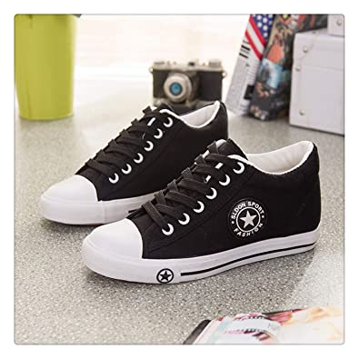 bf5f153f9 Amazon.com | Wedges Canvas Shoes Women Sneakers Summer Casual Shoes Female  Cute White Sneakers Stars Zapatos Mujer Trainers 5 cm Height Tenis Black 4  ...