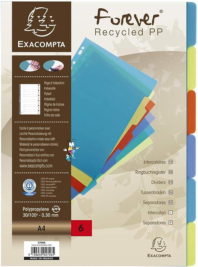 EXACOMPTA Lot de 3 Intercalaires A4 PP 30//100 5 positions