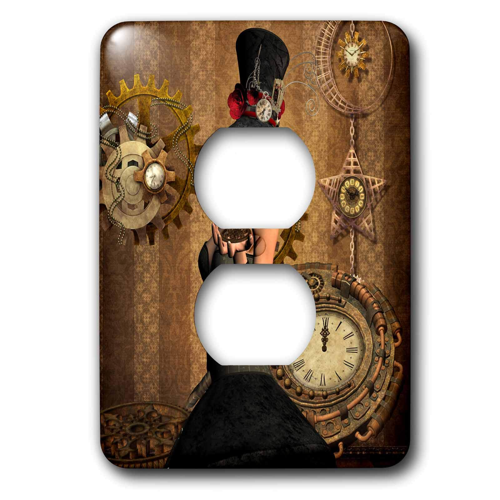 3dRose Heike Köhnen Design Steampunk - Steampunk women with clocks and gears vintage design - Light Switch Covers - 2 plug outlet cover (lsp_287309_6)