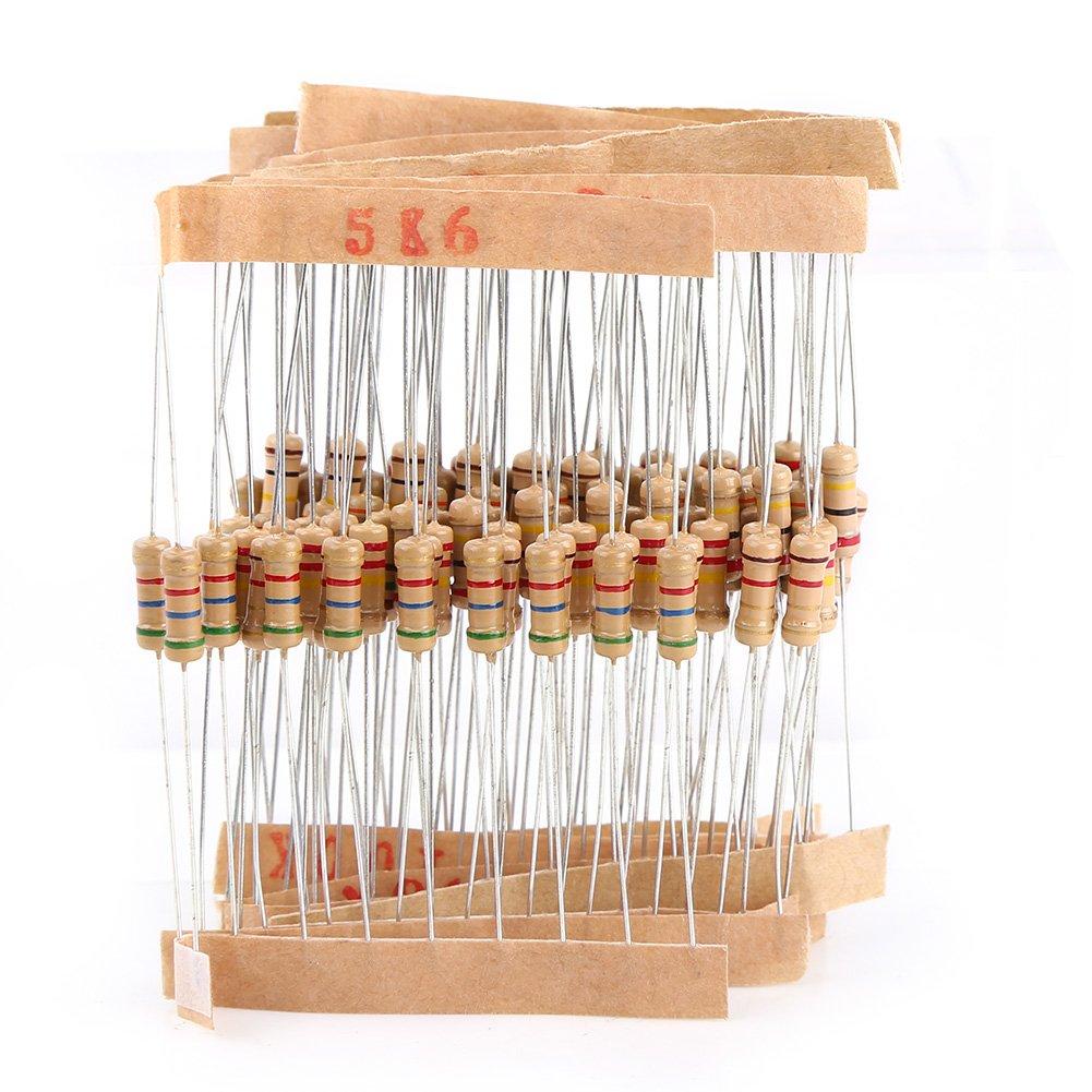 Carbon Film Resistors Assortment Electronic Components Walfront 1000pcs Resistor Kit 100 Values 1//2W 1 Ohm - 1M Ohm