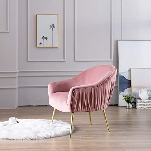 Velvet Accent Chair Single Sofa Comfy Upholstered Pleated Back Arm Chair with Gold Legs for Living Room Bedroom Hosting Room Pink