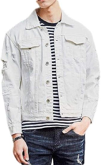 Mens Jean Cotton Regular Fit Classic Ripped Denim Trucker Jacket Coat