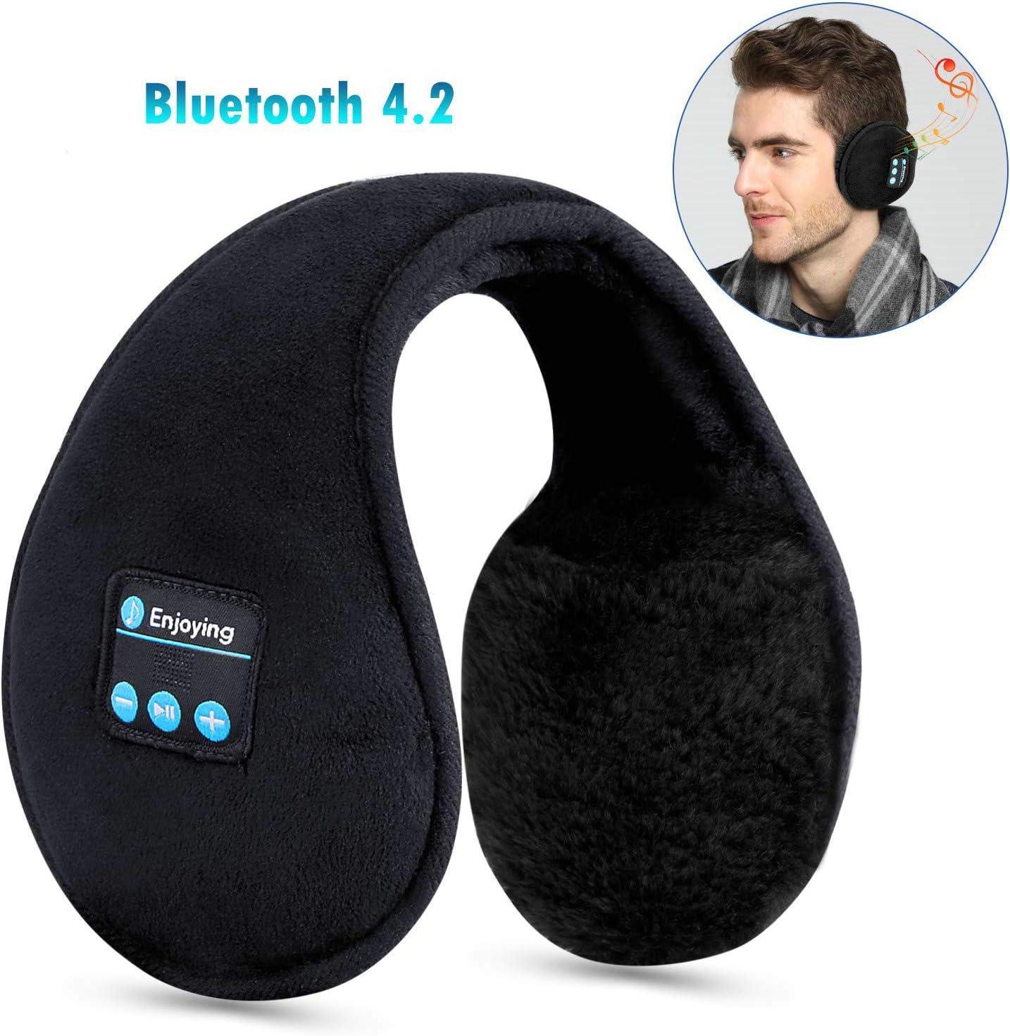 Unisex Winter Warm Bluetoo Earmus Wirel Plush Earphone Music Ear Warmers