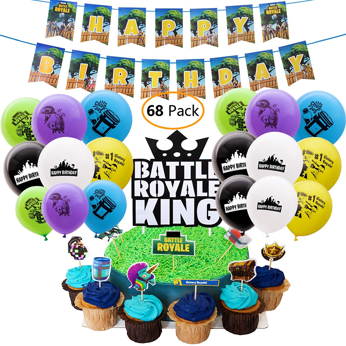 DMight Birthday Party Supplies for Game Fans, 68 Pcs Party Favors - 49 Pcs Cake Topper, 18 Pcs Balloons(8 styles), 1 Pcs Banner