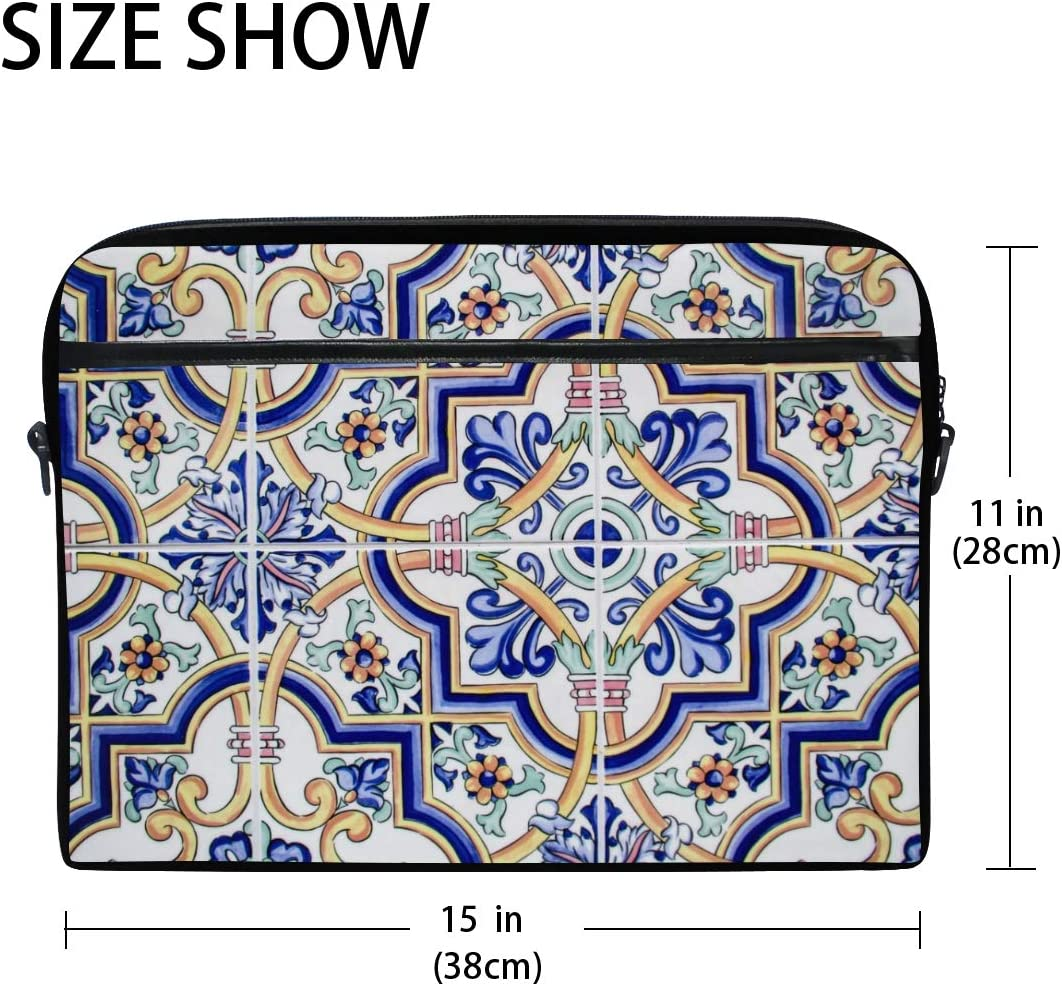 Classic Floral Tile Texture Mens and Womens Computer Bags Shoulder Bags Handbags Briefcases Suitable for 15 Inch Computers