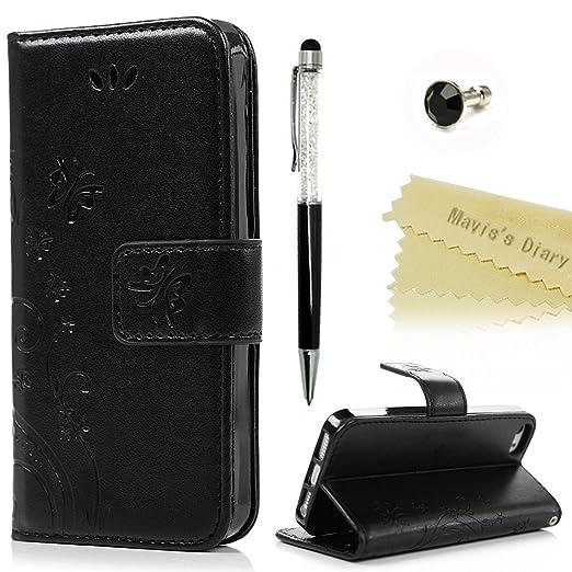 118 opinioni per Mavis's Diary iPhone SE / 5 / iPhone 5S Cover Pelle Nero, Retro Fiore Modello