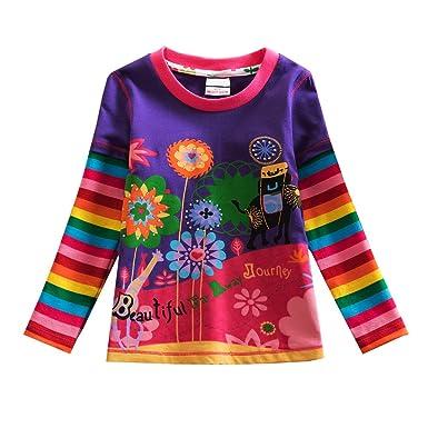 9a79e5f6810d7 VIKITA 2017 Kid Girl Cotton Colorful Flower Long Sleeve T Shirt Clothes  L328PURPLE 6T