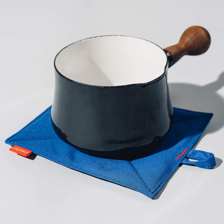 "Caldo Canvas Pot Holders 7/"" x 9/"" Cobalt 2-Pack Insulated 100/% Cotton Canvas"
