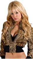 Members Only Cropped Zip Up Fitted Nylon Jacket Leopard Animal Print
