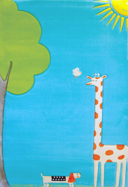 Little Helper Hypoallergener Hochfloriger und Hochwertiger Teppich - Design Giraffe im Sonnenschein - 134 x 180 cm