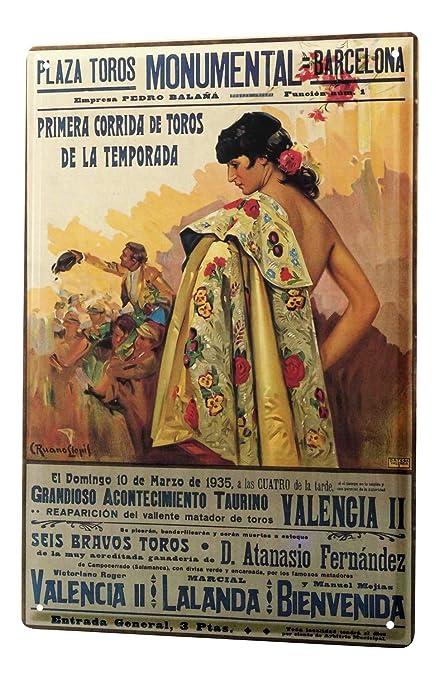 Amazon.com: Tin Sign XXL City Barcelona Bullfighting poster ...