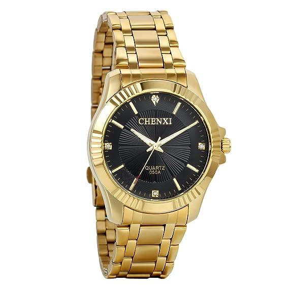 Avaner Reloj Dorado de Esfera Negra Oro, Reloj de Caballero Cuarzo, Correa de Acero Inoxidable, Grande Oro Reloj de Hombre