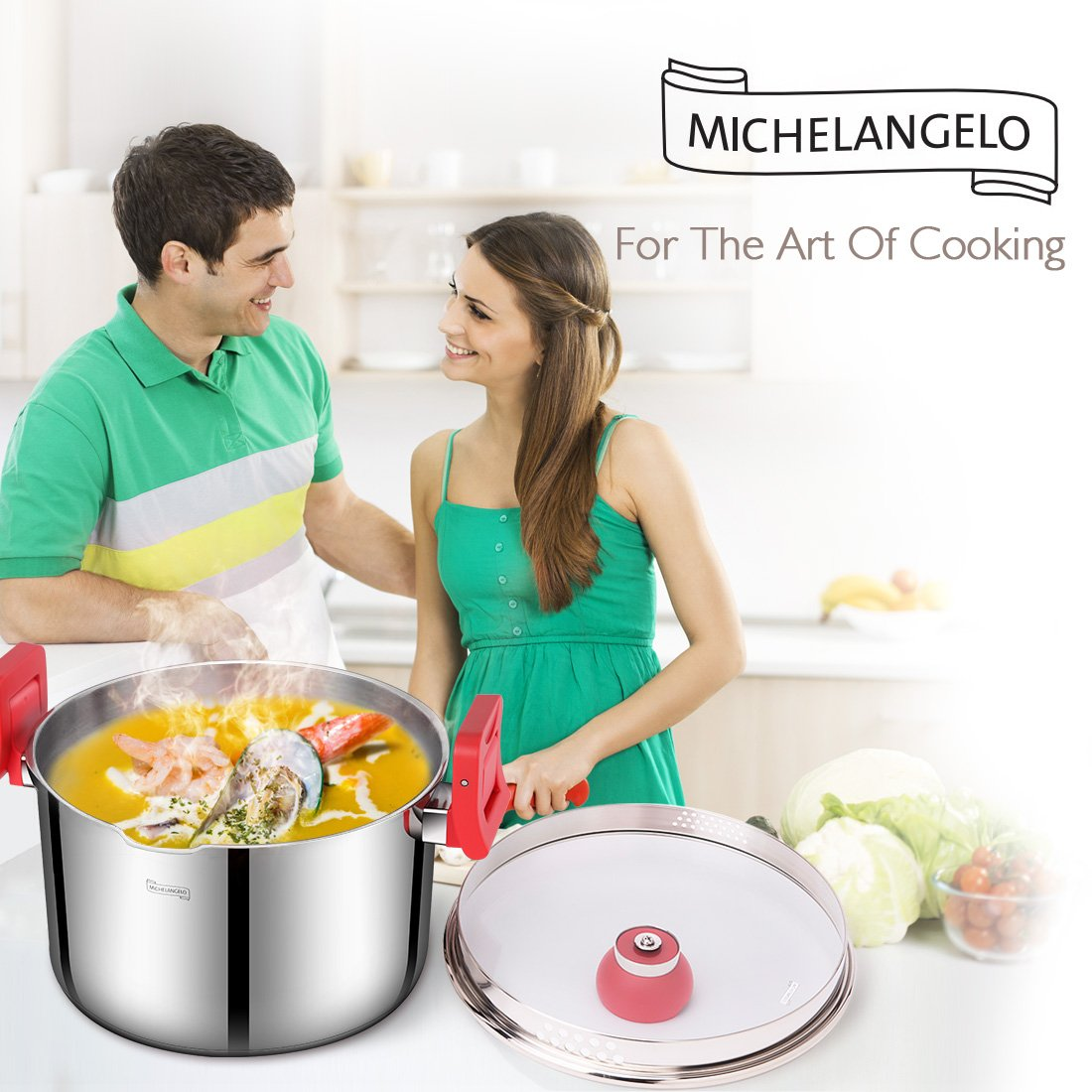 MICHELANGELO 5 Quart Pasta Pot Induction Ready, Stainless Steel Pasta Pot With Strainer Lid, Stainless Steel Dutch Oven Pot, 5 Quart Soup Pots with Lids by MICHELANGELO (Image #4)