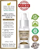 100% Natural & Organic Melasma Treatment for Face. Best System for Lightening & Dark Spot Corrector - Hydroquinone & Kojic Acid Free. Kit, Serum & Cream to Fade and Remove Pigment Problems. No peel!