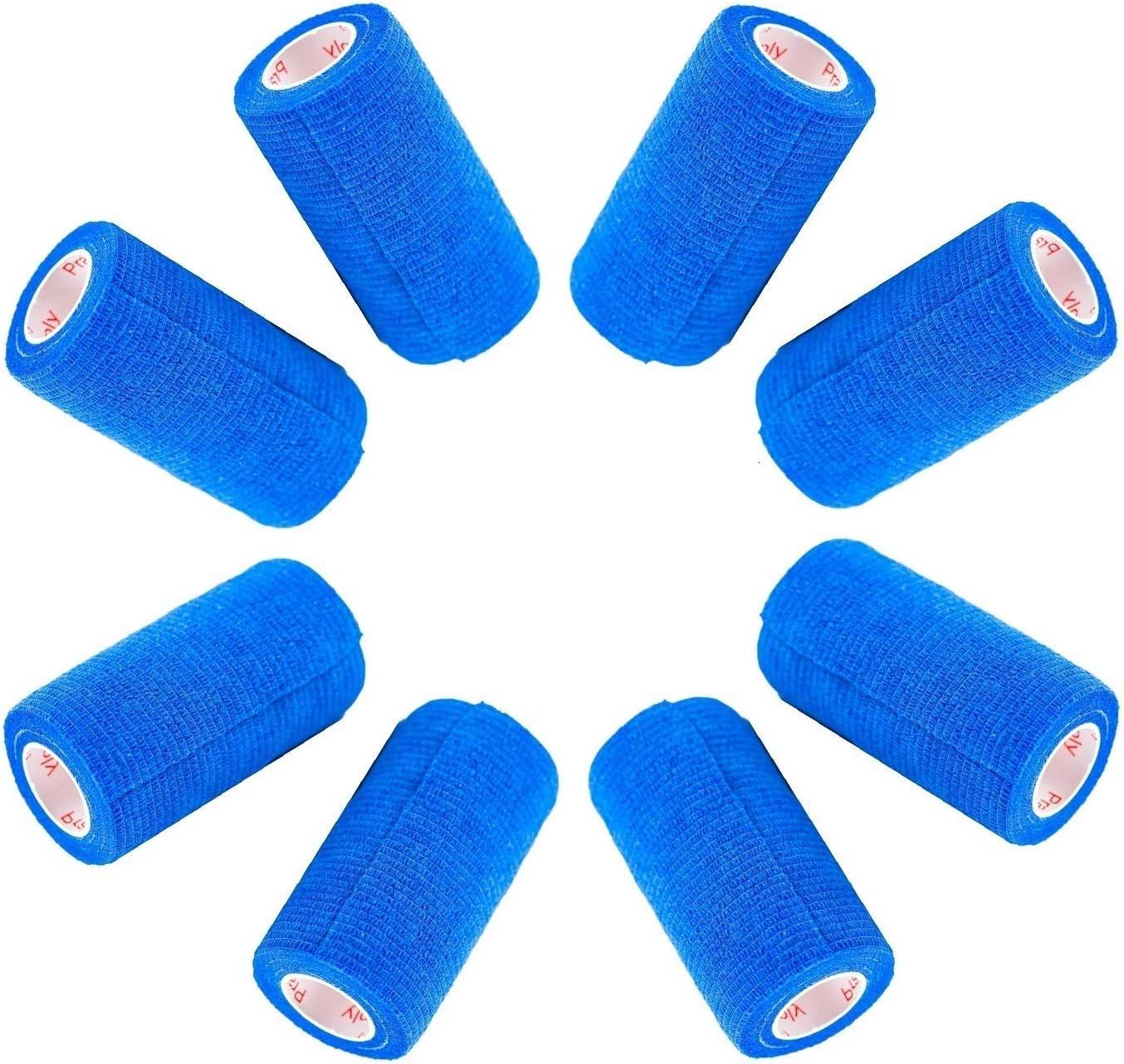 4 Inch Vet Wrap Tape Bulk (Assorted Colors) (6, 12, 18, or 24 Packs) Self-Adhesive Self Adherent Adhering Flex Bandage Rap Grip Roll for Dog Cat Pet Horse 71xP947fJZL