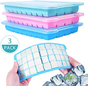 Ice Cube Trays 3 Pack, Bouraw Silicone Ice Cube Tray with Lids, Easy Release Ice Cube Molds 36 Cubes per Tray for Cocktail, Whiskey, Chocolate, Non-toxic,BPA Free