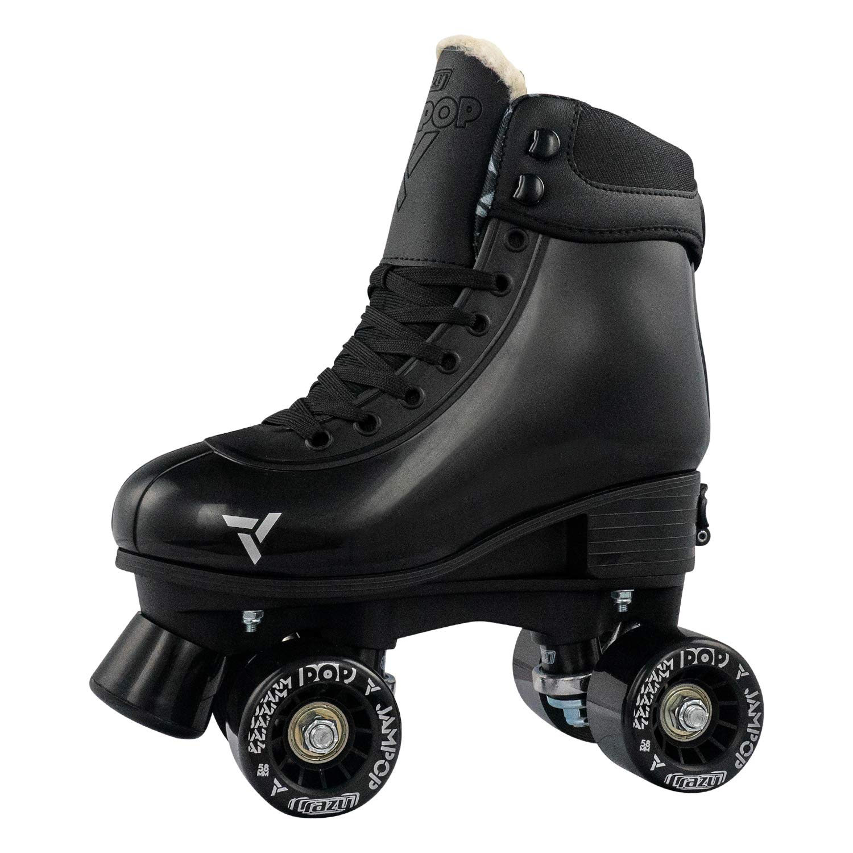 Crazy Skates Jam Pop Roller Skates for Boys and Girls | Size Adjustable Quad Skates That Fit 4 Shoe Sizes | Black Medium (Sizes 3-6)