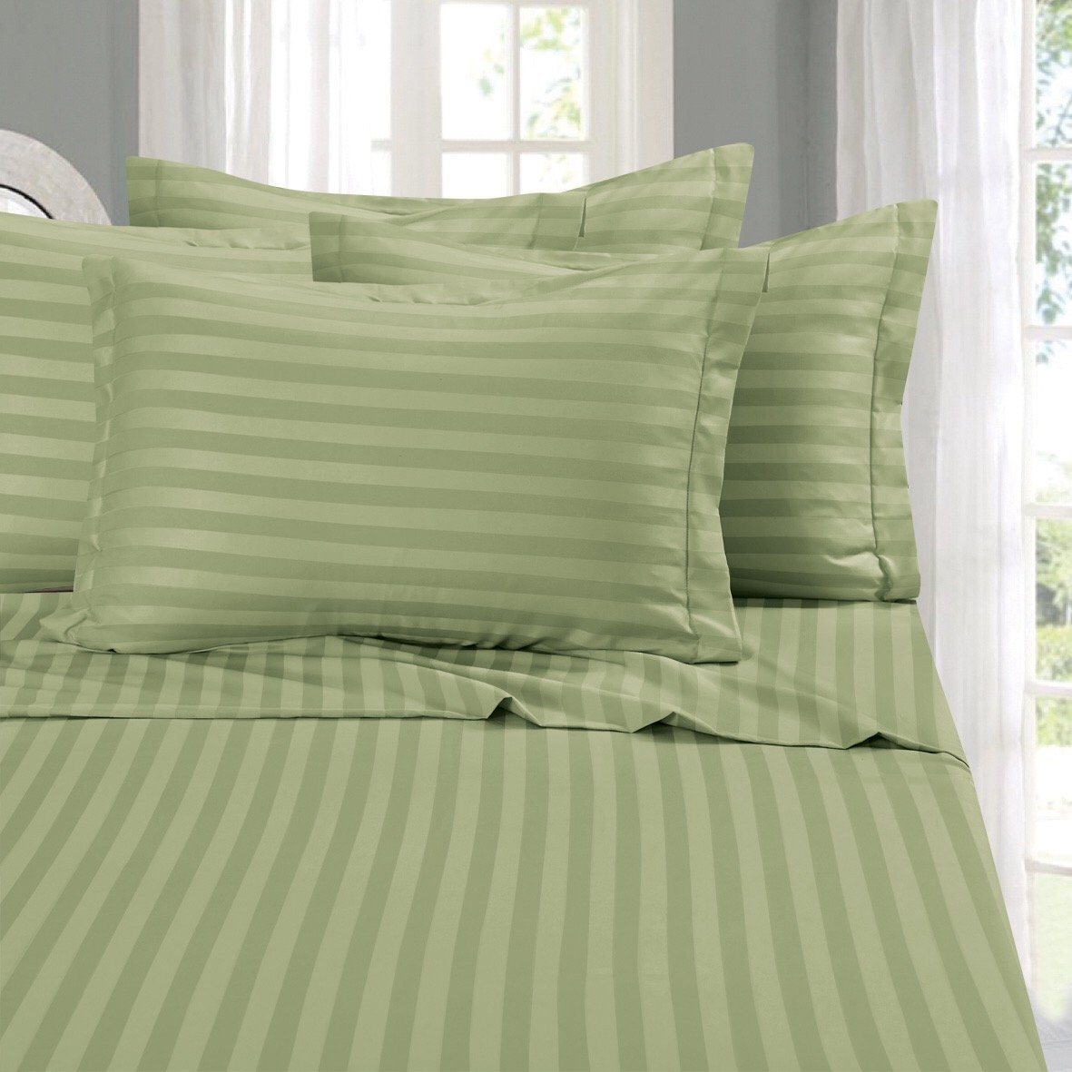 Elegant Comfort Super Silky Soft 6 Piece STRIPE Bed Sheet Set, Queen Green