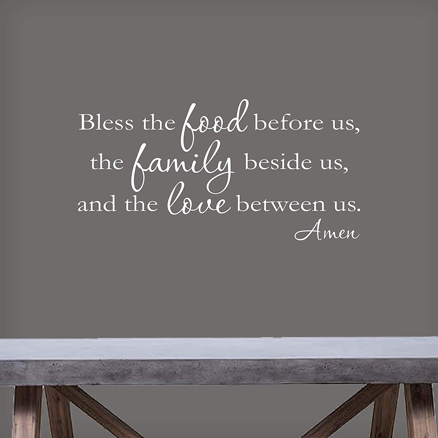 Bless The Food Before Us, The Family Beside Us, and The Love Between Us-22x11-White