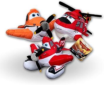 Aviones Pack 3x Peluches Blade Ranger, Dusty Crophopper y Dusty Bombero 20cm Aviones Equipo de Rescate Helicóptero Avion Peluche Planes Disney: Amazon.es: Juguetes y juegos