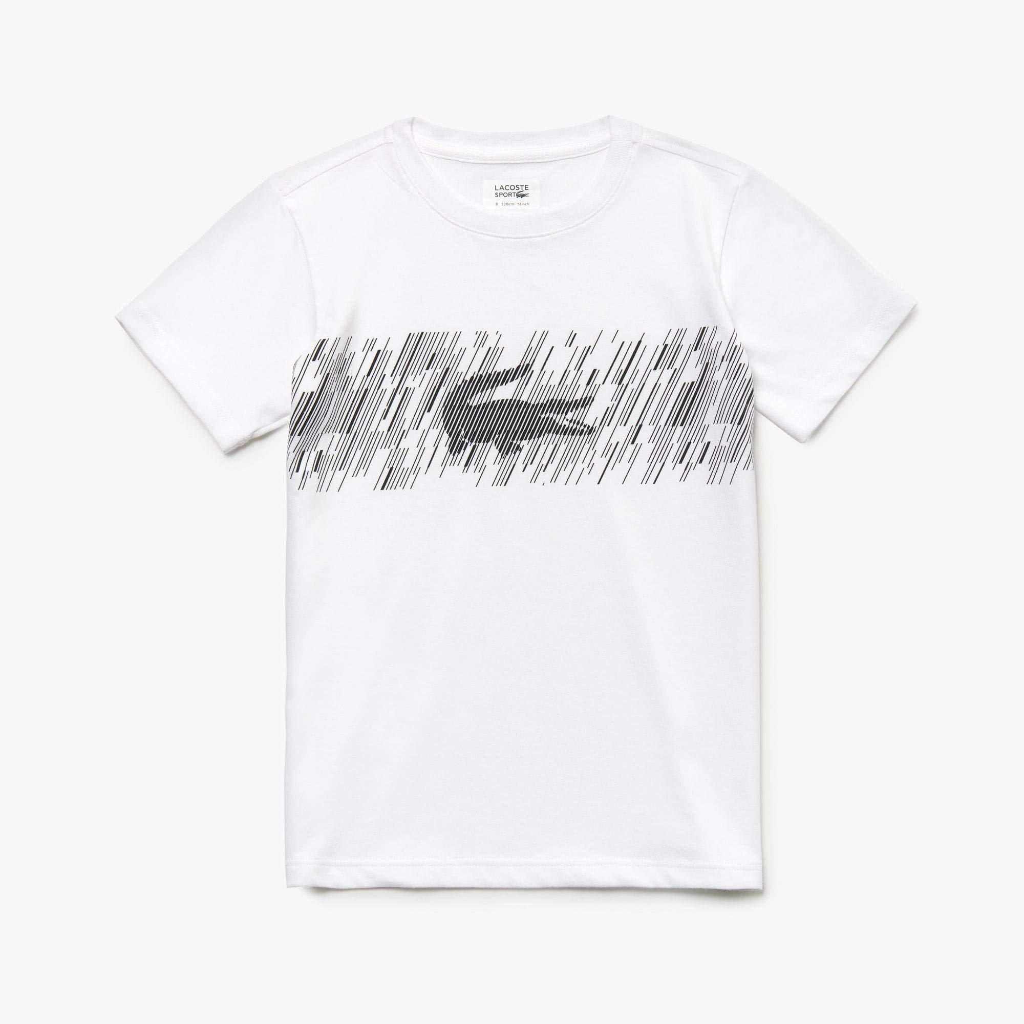 Lacoste Big BOY Graphic Crocodile T-Shirt, White/Black, 12YR