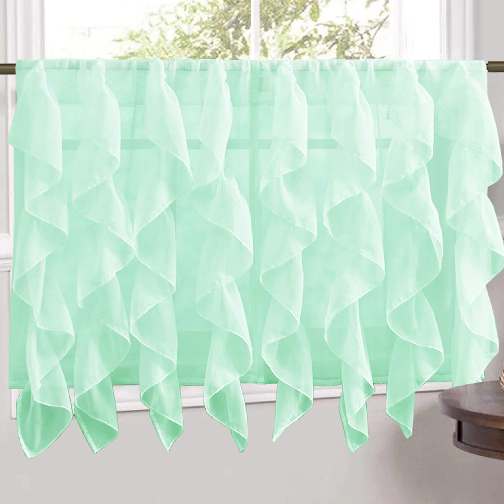 Sweet Home Collection Veritcal Kitchen Curtain Sheer Cascading Ruffle Waterfall Window Treatment - Choice of Valance, 24'' or 36'' Teir, and Kit, Tier Pair Only, Mint by Sweet Home Collection