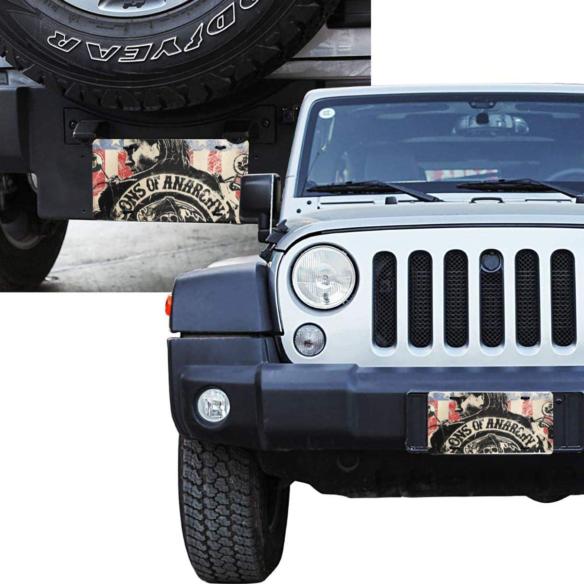 WINTERSUNNY Combined Dark Anarchy License Plate Frame USA Car Licenses Plate Covers Waterproof License Tag Aluminium Metal Frames with 4 Holes and Screws