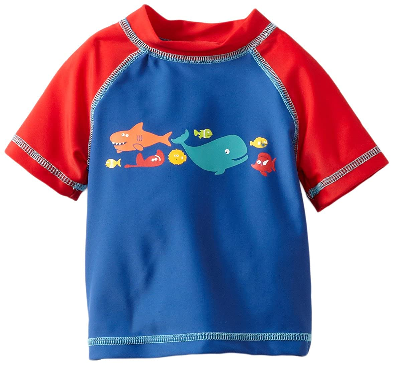 Little Me Childrens Apparel Baby and Toddler Boys UPF 50 Short Sleeve Rashguard Swim Shirt