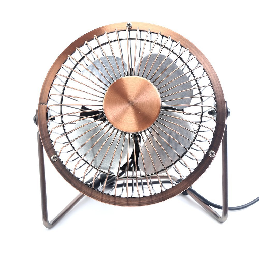 GLAMOURIC Small USB Desk Fan Mini Metal Personal Fan Retro Design Electric Portable Air Circulator Angle Adjustable Quiet Operation for Table Desktop Home Office Travel (Copper) by GLAMOURIC (Image #9)