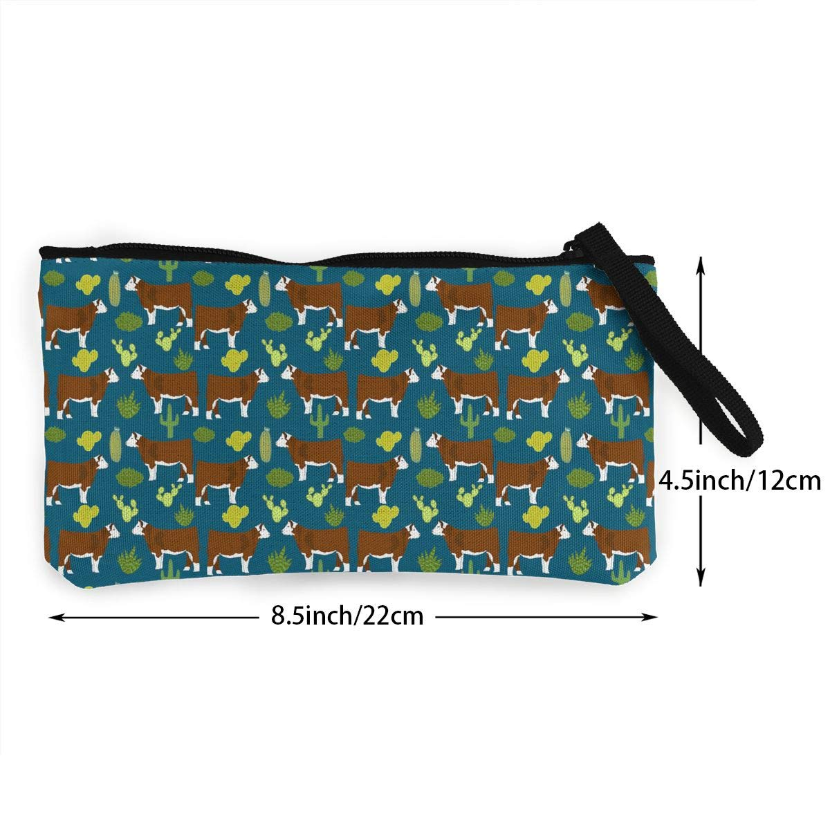 DH14hjsdDEE Hereford Cow Cattle And Cactus Zipper Canvas Coin Purse Wallet Make Up Bag Cellphone Bag With Handle