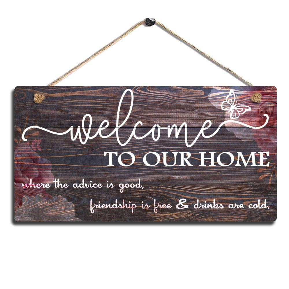 "SAC SMARTEN ARTS Vintage Home Decor Sign Welcome to Our Home Wall Art Sign-Where The Advice is Good, Friendship is Free and Drinks are Cold Wall Hanging Sign Size 11.5"" x 6"" (Red-Brown)"