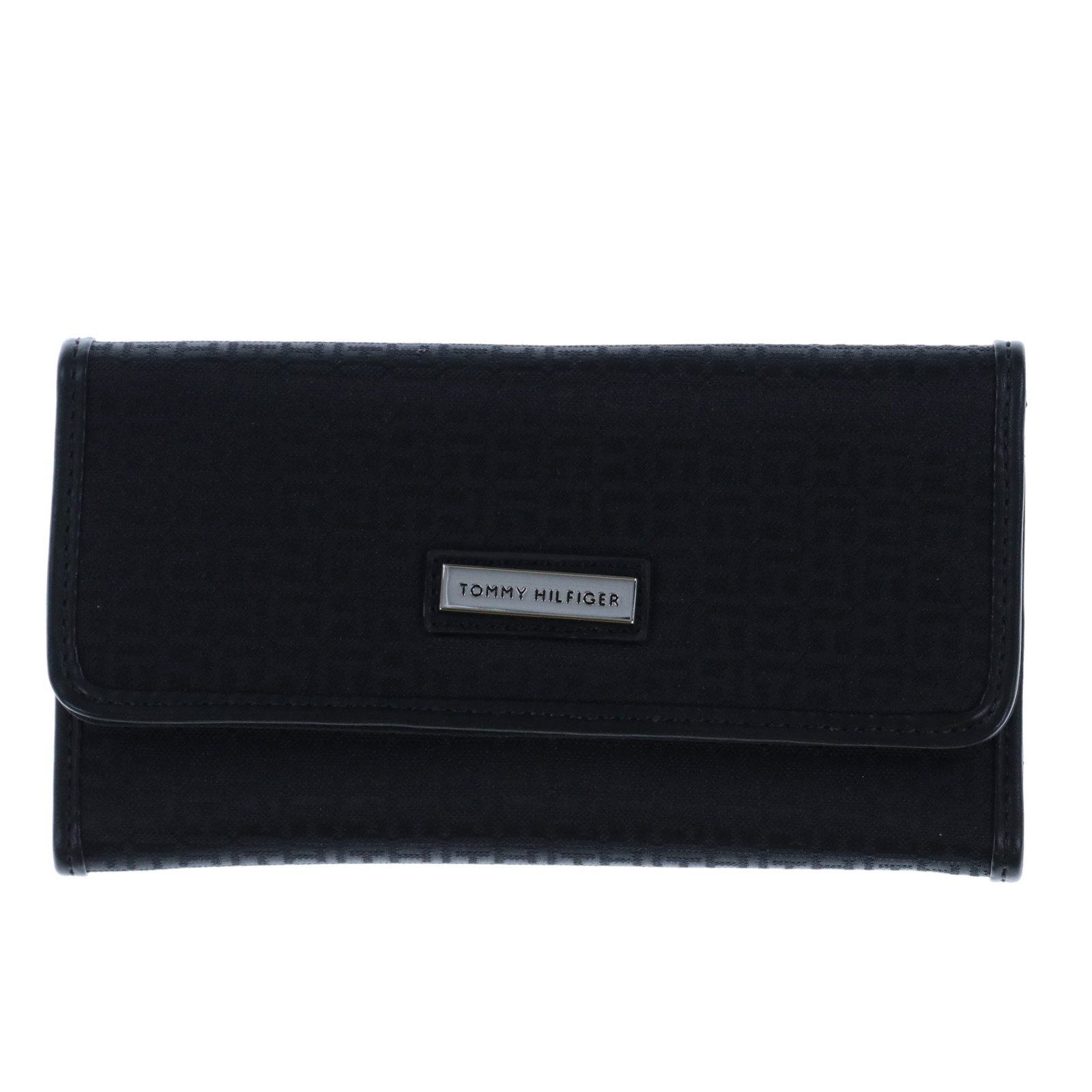 New Tommy Hilfiger TH Logo Wallet & Checkbook Cover 2 Piece Black Duplicate Flap by Tommy Hilfiger