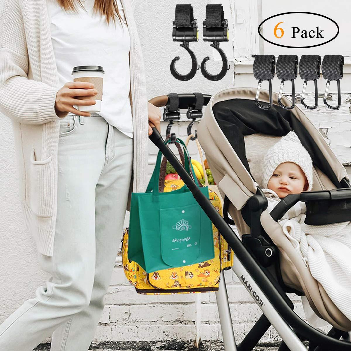 Kinderwagen Haken Taschenhaken Anh/änger f/ür Kinderwagen 6 St/ück mit Klettverschluss zum Befestigen am Kinderwagen Universale Passform