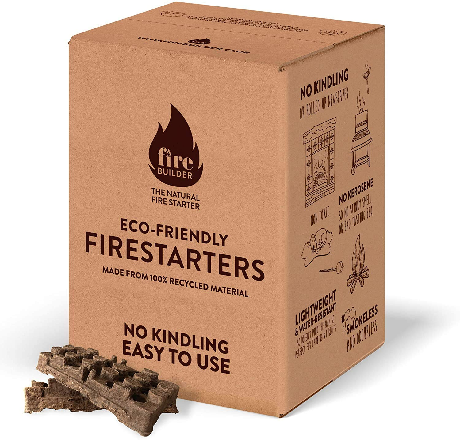 – Natural Firelighters For Wood Burners, Open Fires, BBQ and Fire Pit. No Kindling Required. Smokeless and Odorless.