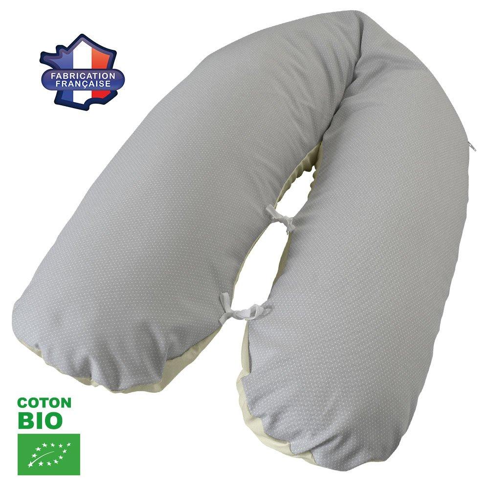 Modulit - Coussin d allaitement Bio Gris à pois, Coton BIO, déhoussable au Volume Ajustable 180cm Natal Baby 3553350002141