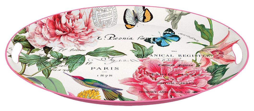 Michel Design Works Decorative Oval Metal Platter 16.25 x 12.75-Inch Peony MTDM227