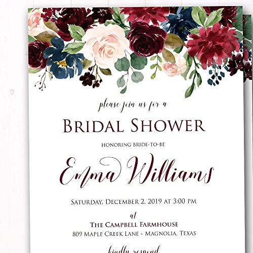 b4669ff2e476 Navy Burgundy Blush Floral Bridal Shower Invitations - Rehearsal Dinner  Invites - Vineyard Wine Tasting Invites - CUSTOMIZE FOR ANY EVENT - Set of  20 ...