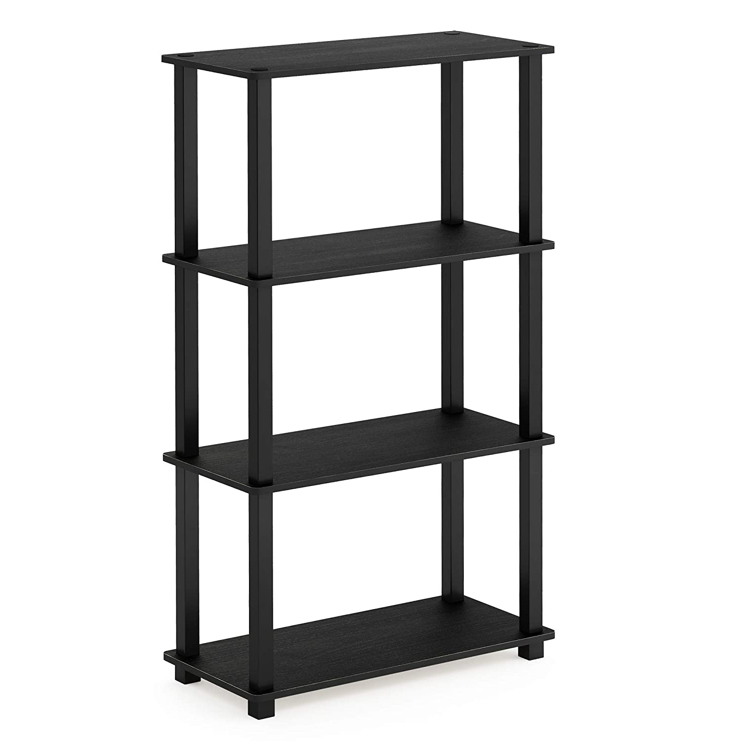 Furinno 18028AM/BK Turn-S-Tube 4-Tier Multipurpose Shelf Display Rack, Square, Americano/Black