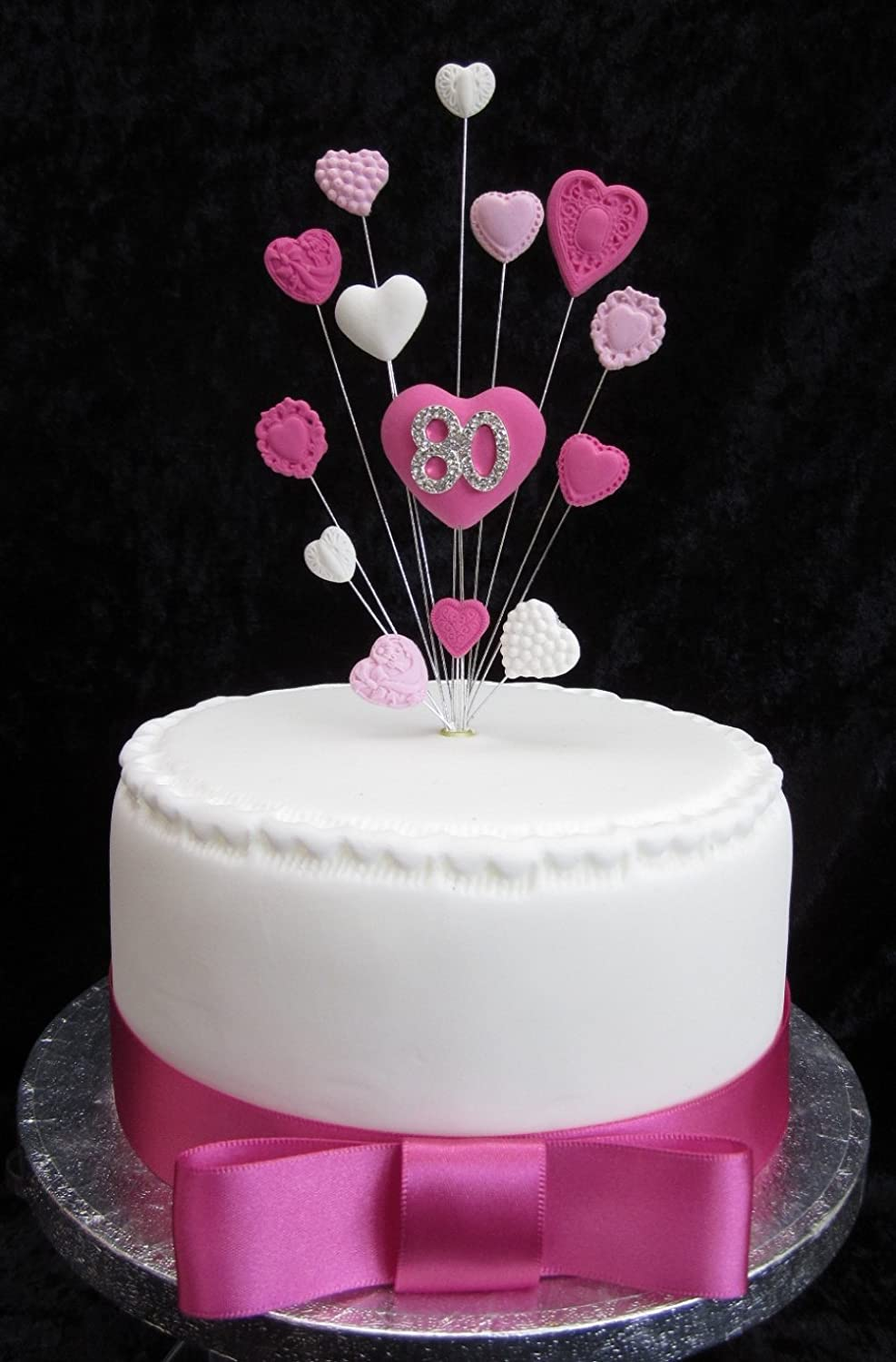 Amazing 80Th Birthday Cake Topper Pinks And White Hearts Ideal For A Small Funny Birthday Cards Online Eattedamsfinfo